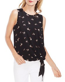 VINCE CAMUTO - Sleeveless Floral Tie-Front Top