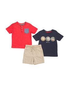 BEN SHERMAN Little Boys 3pc Henley Tee & Shorts Se