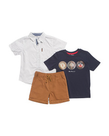 BEN SHERMAN Little Boys 3pc Woven Tee & Short Set
