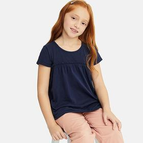 GIRLS GATHERED FRILL CREW NECK SHORT-SLEEVE T-SHIR