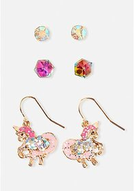 Justice Unicorn Prism Earrings - 3 Pack