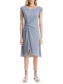 Max Studio Striped Knotted-Front Dress BLUE