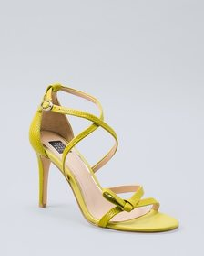 Lizard-Embossed Leather Strappy Heels