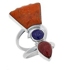 Jay King Lapis, Red and Orange Coral Sterling Silv