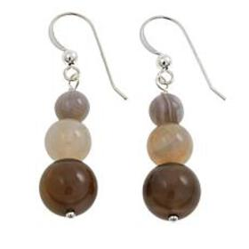 Jay King Round Agate Graduated Bead Sterling Silve