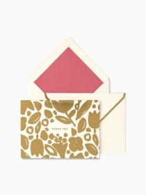 golden floral thank you cards