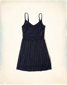 Hollister Shine Pleated Dress, NAVY WITH SHINE