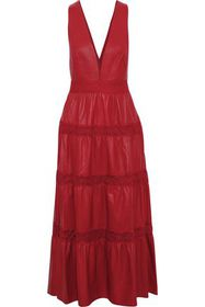 VALENTINO Lace-trimmed leather midi dress