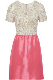 VALENTINO Embellished tulle and silk satin-twill m