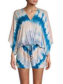 Young Fabulous & Broke Ashley Tie-Dye Romper BLUE