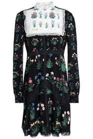 VALENTINO Lace-trimmed pintucked silk crepe de chi