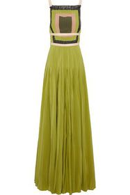 VALENTINO Open-back leather-trimmed pleated silk c