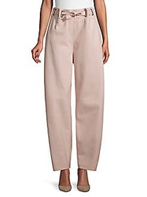 Agnona Leather Drawstring Pants BEIGE