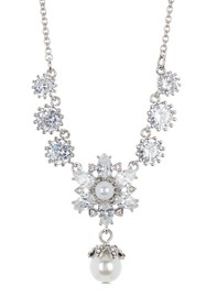 Marchesa CZ & Imitation Pearl Drop Neckalce