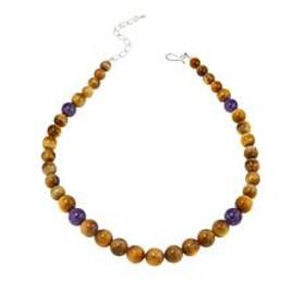 Jay King Golden Tiger's Eye and Amethyst Bead 20-1