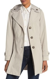 London Fog Solid Pleated Detachable Hood Trench Co