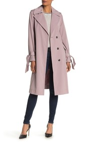 London Fog Solid Snap Tie Front Trench Coat