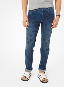Michael Kors Parker Slim-Fit Printed Stretch-Cotto