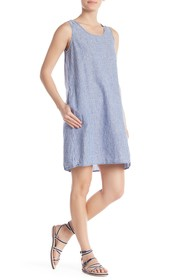 Max Studio Striped Linen Blend Shift Dress