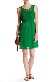 Max Studio Crocheted Trim Smocked Dress