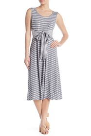 Max Studio Front Tie Stripe Print Sleeveless Dress