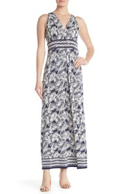 Max Studio V-Neck Sleeveless Pattern Print Maxi Dr