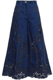 VALENTINO Guipure lace-paneled high-rise wide-leg