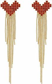 Nina Pave Heart Fringe Earrings