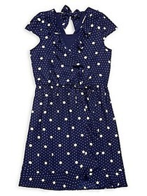 Monteau Girl's Dotted Tie Dress NAVY