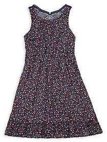 Monteau Girl's Floral Knot Pleated Dress NAVY FLOR