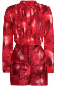 VALENTINO Leather-trimmed printed silk-crepe and j