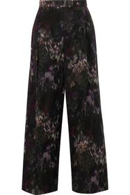 VALENTINO Cropped printed cotton and silk-blend wi