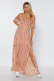 Nasty Gal Womens Peach Sleeve It to Chance Striped