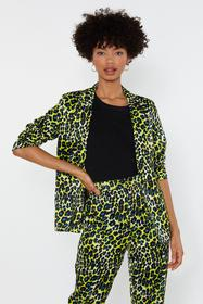 Nasty Gal Womens Yellow Prowl or Never Satin Leopa