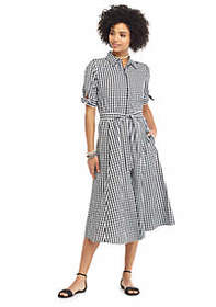 The Limited Gingham Short Bow Sleeve Belted Shirtd