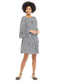 The Limited Gingham 3/4 Ruffle Sleeve Boat Neck Dr