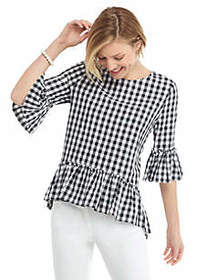 The Limited Gingham Elbow Sleeve Tunic with Ruffle