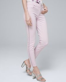 Mid-Rise Embellished-Stripe Cropped Jeans