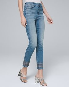 Mid-Rise Embroidered-Hem Slim Cropped Jeans