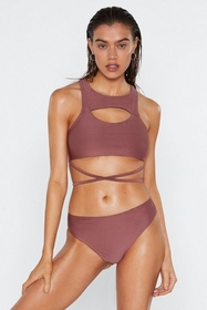 Nasty Gal Womens Mauve In It to Win It Cut-Out Rib