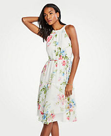 Floral Belted Flare Dress