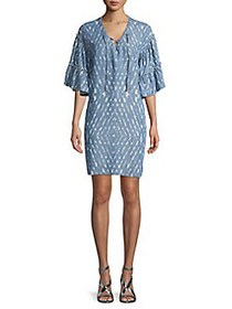 Context Ruffle-Tier Sleeve Mini Dress DENIM WASH