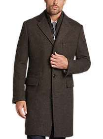 Joseph Abboud Brown Crowfoot Modern Fit Topcoat