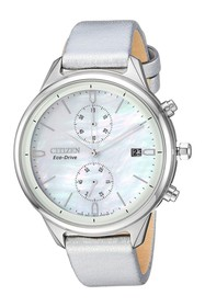 Citizen Women's Pearl Chronograph Silver Leather W
