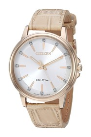 Citizen Women's Croco Embossed Leather Strap Watch