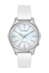 Citizen Women's Eco-Drive Silver Dial White Leathe
