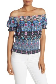 Nicole Miller Off-the-Shoulder Floral Paisley Top