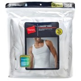 HANES Hanes Tall 3-Pack Ribbed White Tank Top