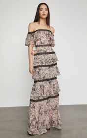 BCBG Off-The-Shoulder Tiered Ruffle Gown
