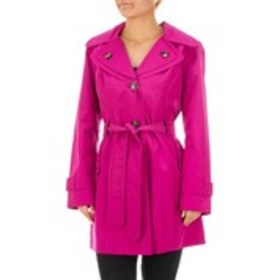 LONDON FOG Belted Trench Raincoat with Detachable